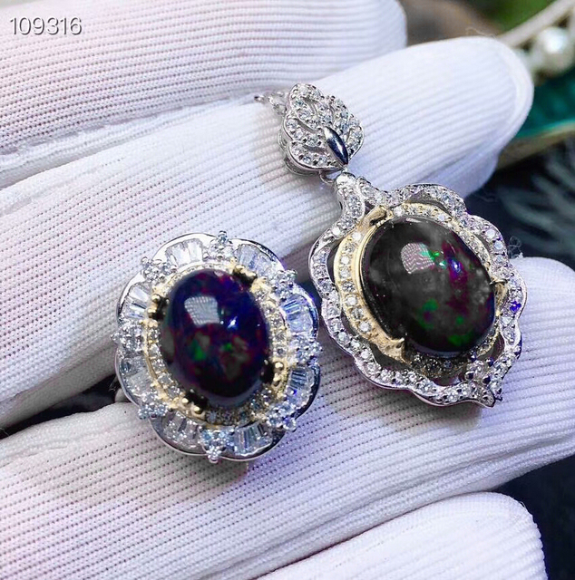 MeiBaPJ Rare Natural Black Clean Opal Gemstone Ring and Necklace 2 Siut for Women Real 925 Sterling Silver Fine Jewelry Set