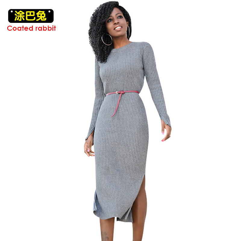 Coated rabbit Knitted Women Dress 2018 Spring Sexy Long Sleeve Gray Vintage Mid Dresses Female Split The Fork coated rabbit knitted women dress 2018 spring elegant loose long sleeve o neck pockets dress casual female plus size