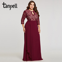Tanpell Backless Plus Evening Dress Burgundy Scoop Lace 3 4 Sleeves Floor Length A Line Gown