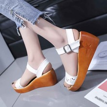 Summer New Roman Sandals Women Ladies Wedge Sandals Fashion Rome Casual Fish Mouth Hollow Shoes Buckle Strap Lady Shoes Sapato 15 cm glass slipper super stilettos roman shoes soft face hollow out sandals fish mouth shoes taking pictures