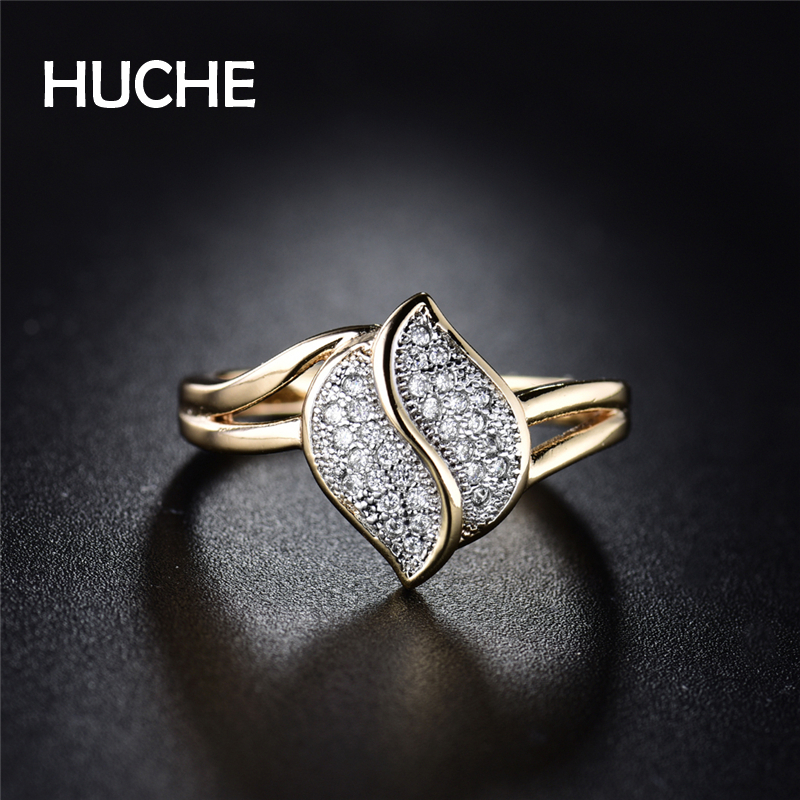 Les fleurs Store HUCHE  Wave Separated Pave 30 CZ Charm Copper Women Rings  Hot Sell In 2017 Best Gift For Best Friend HYJR276