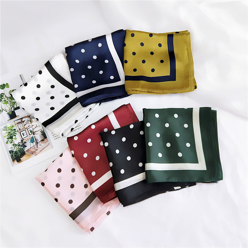 2018 Spain Luxury Brand Silk Scarf Women Loop Dot Square Shawls And Wraps Small Neckerchief Hair Tie Neck Hijabs Foulard 70*70Cm