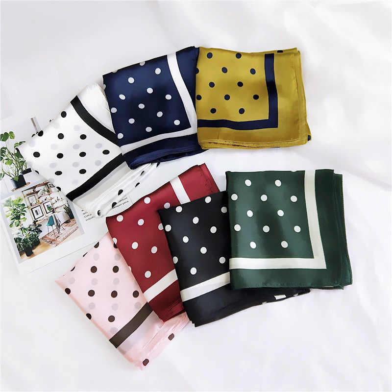 2018 bufanda de seda de marca de lujo de España para mujer, chales cuadrados de puntos y envolturas, cuello de corbata pequeño Hijabs Foulard 70*70 Cm