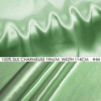 100% SOIE CHARMEUSE SATIN 114 cm largeur 19 momme/100% Pur Mûrier Tissu De Soie pour la robe de plage Patchwork Bébé vert AUCUN 44