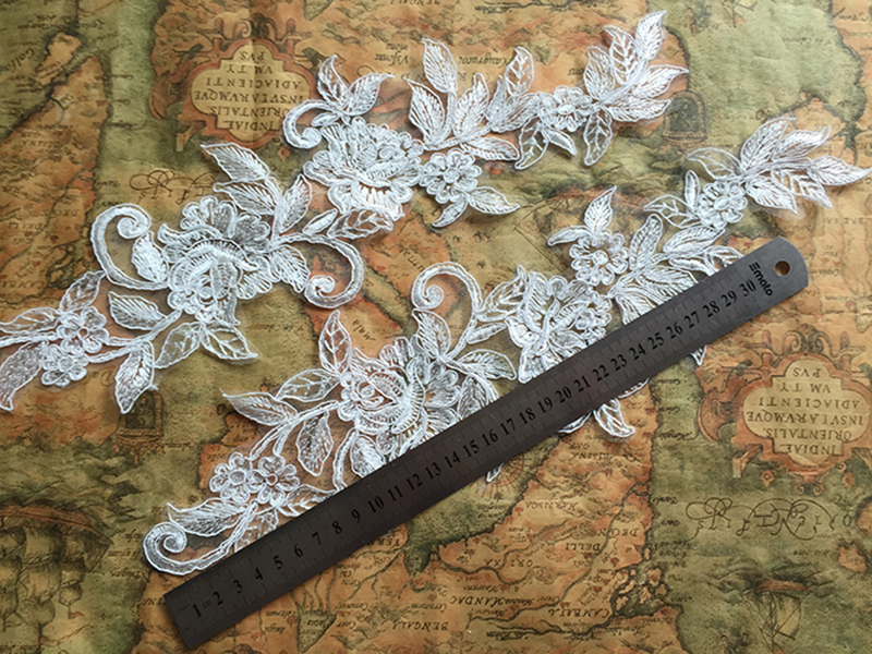 10 Pieces 39X10 5cm New Arrival Lace Applique Flower Sewing Trims Wedding Decoration Free Shipping in Lace from Home Garden