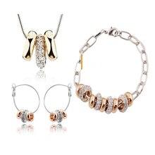 Новинка, ювелирные наборы с кристаллами, подвески и ожерелья, серьги-гвоздики, браслеты с серебряным покрытием, цепочка для женщин