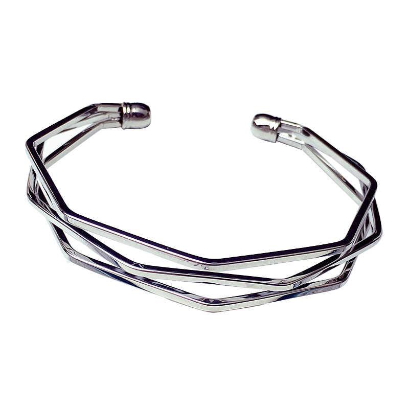SHUANGR אופנתי ופופולרי מינימליסטי צמידי שלושה חוט שלושה ממדי סדיר צמיד פתוח קאף צמיד