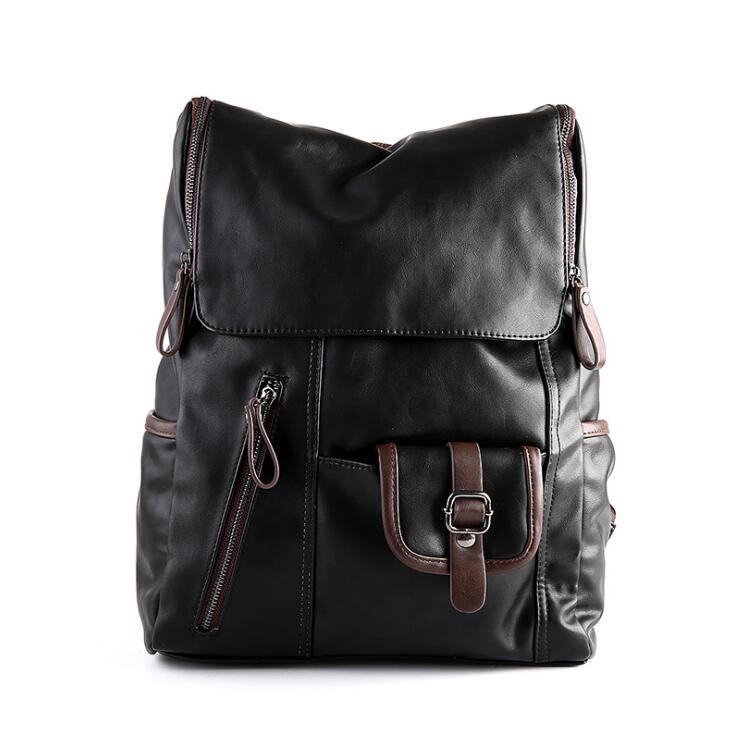 ФОТО men Backpack Men PU Leather Fashion Vintage Travel Men Bag for Teenagers shoulder bag laptop backpacks