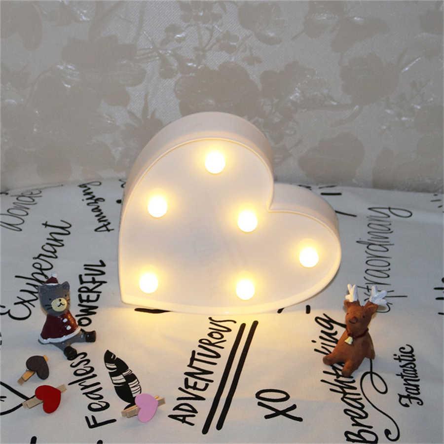 Luces románticas de la noche del corazón letra del marquesina LED luz de la noche hogar interior dormitorio boda fiesta de cumpleaños decoración del hogar
