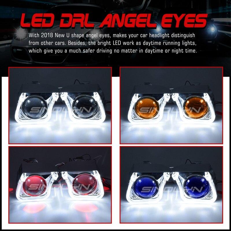 2.5 ''mise à niveau 8.0 carré U LED Angel Eyes Halo HID bi-xénon lentilles pour projecteur de voiture phare DRL H1 H4 H7 9005 9006 HB3 - 4