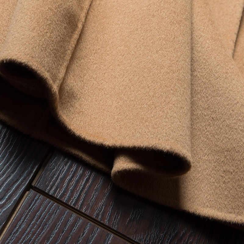 2019 סתיו חורף צמר טהור מעיל זה Moman מקרית סלעית קרדיגן בעבודת יד קשמיר דו צדדי מעיל ארוך מעיל נשים
