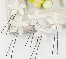 Bridal hairpins lace pearl romantic hairpins wedding hair decoration clips hair accessories 60pc/lot