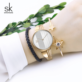 цена Shengke Creative Quartz Watch Set Luxury Gold Women Bracelet Watches Reloj Mujer 2019 SK Ladies Wrist Watch with Bracelets Gifts онлайн в 2017 году
