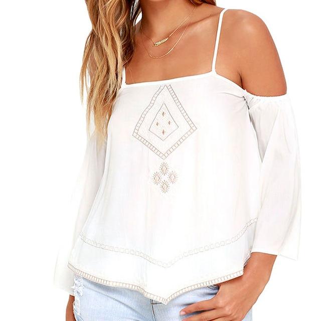 Novo 2016 as mulheres tanque branco Tops Casual festa roupas sem mangas Halter bordado camisola S-XL verão estilo