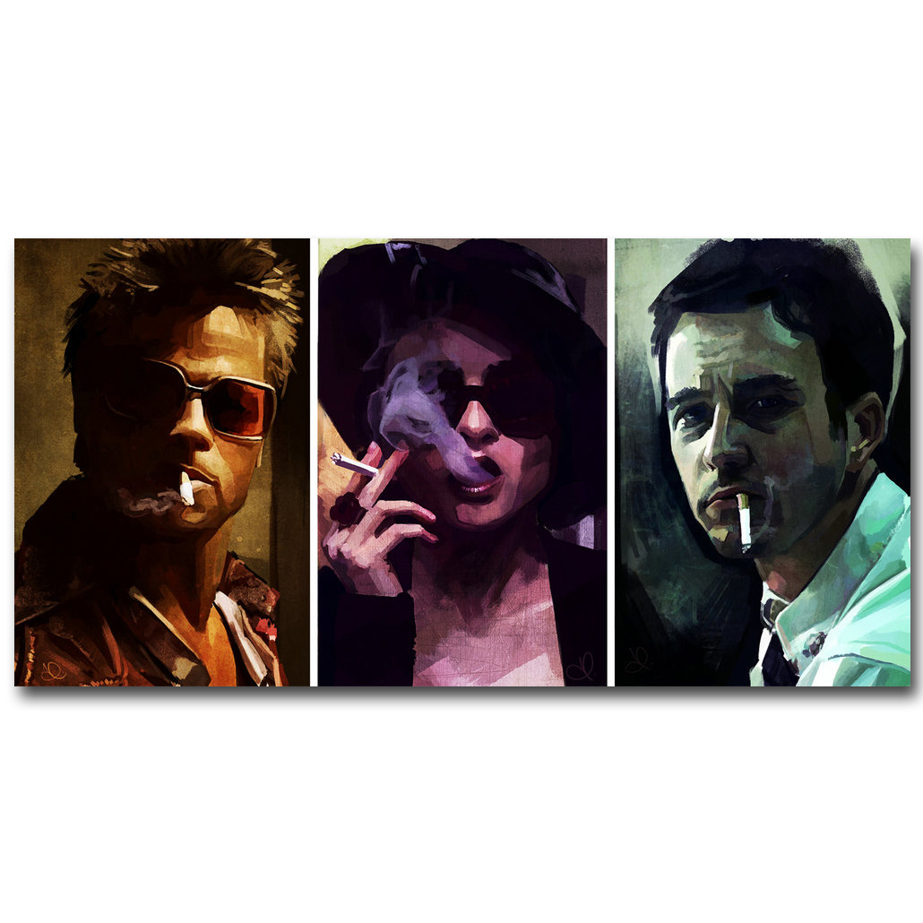 Fight Club Art Silk Fabric Poster Print 13x26 24x48inch Classic Movie Pictures For Living Room Wall Decoration Gift 020