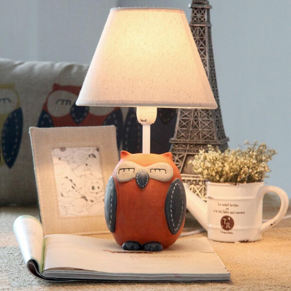ФОТО Children Room Lovely Owl Kids Wooden Desk Lamp E14 110V-220V  Reading Led Lamp  Switch Button Laptop Table Light Study LampsChil