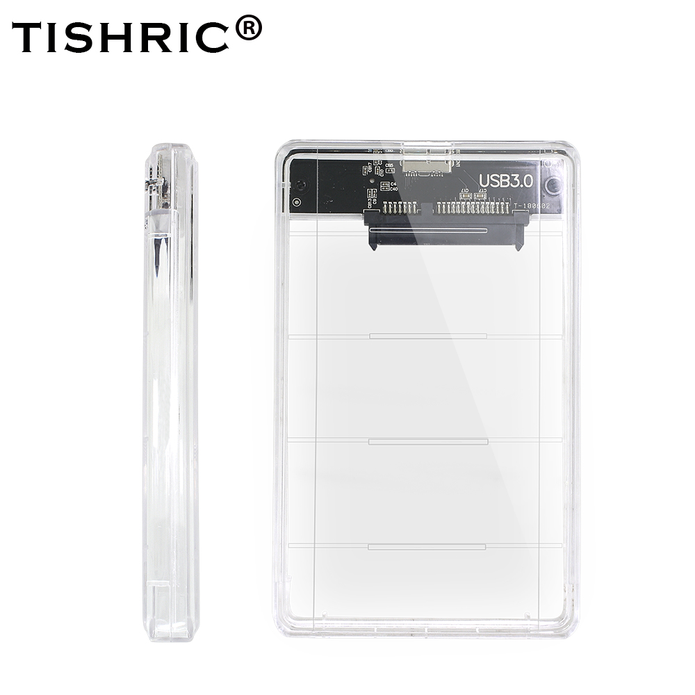 TISHRIC Transparent 2.5 HDD/SSD Case Hard Drive Enclosure/Box Sata To USB 3.0 Adapter UASP Protocol Up To 2TB Hard Disk Case