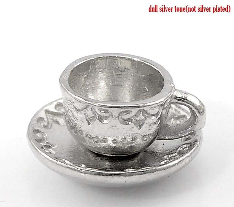 423cfdea0f DoreenBeads 20PCs dull silver color Cup   Saucer Tableware Charm Pendants  14x8mm(4 8x3 8) (B21973)