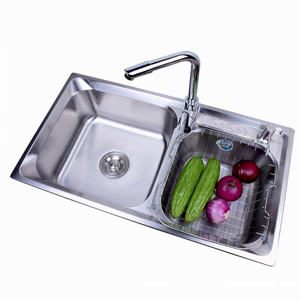 Кухня раковина двойной слот 304 нержавеющая сталь квадратный большая раковина щеткой поверхность с водой фитинги кран wx4181145