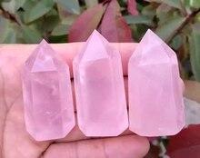 1pcs Natural rose quartz crystal wand POINT HEALING