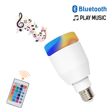 Smart E27 LED Bulb Light AC110-265V RGB Bluetooth Speaker Music Playing Dimmable Wireless Led with 24 Keys Remote Control