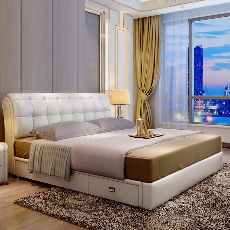 Recamaras Set Letto Matrimoniale Bett Modern Frame Literas Room Leather bedroom Furniture Mueble De Dormitorio Moderna Cama Bed
