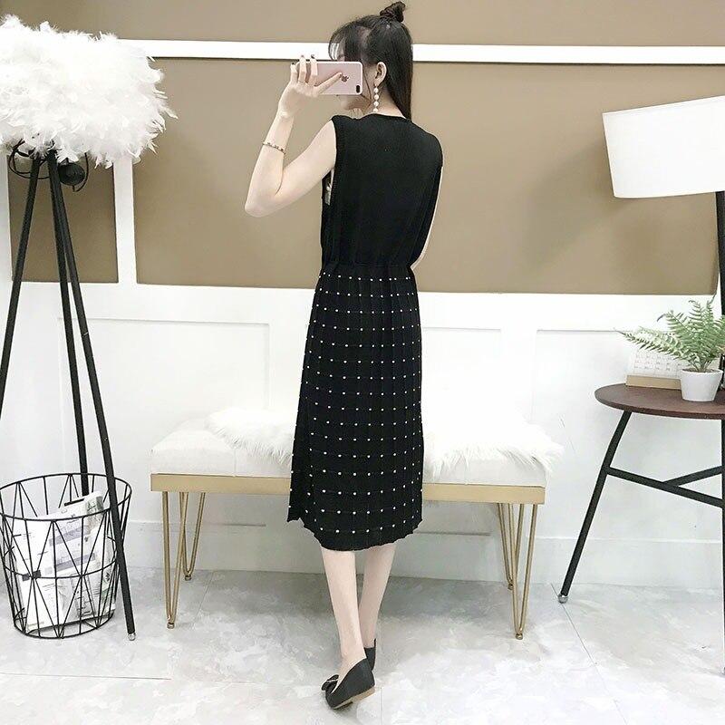 elegant knit summer Drawstring straight Dot dress Women Linen loose v neck sleeveless Dress office dress female midi dress in Dresses from Women 39 s Clothing