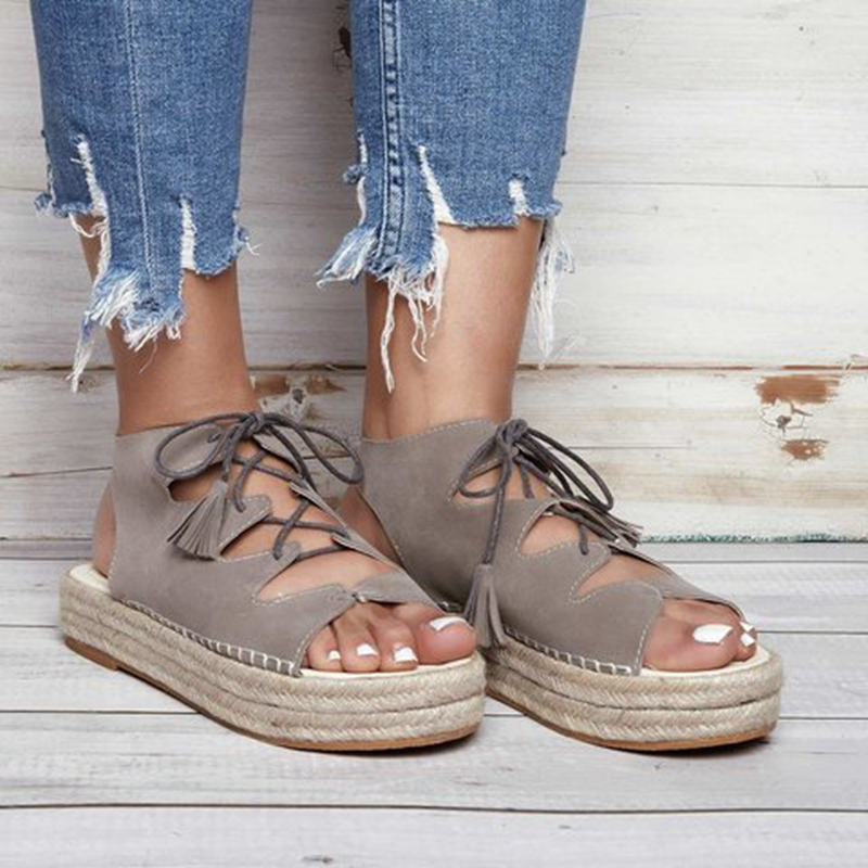 HEFLASHOR Platform Sandals Rope-Shoes Open-Toe Summer Women Lace-Up Soft 43 Straw-Hemp