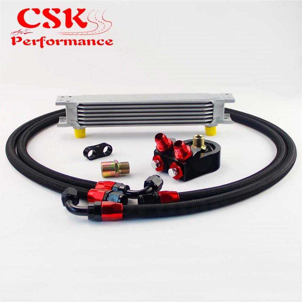 7 Row 10AN Universal Aluminum Engine Transmission Oil Cooler+Filter Adapter Kit