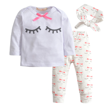 Autumn Baby Girl Eye Lashes 3pcs/set (headband+T-shirt+pant)