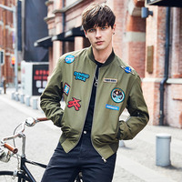 men clothes bomber jacket 2018 new spring clothes casual rib sleeve green baseball jersey appliques stand neck collar streetwear