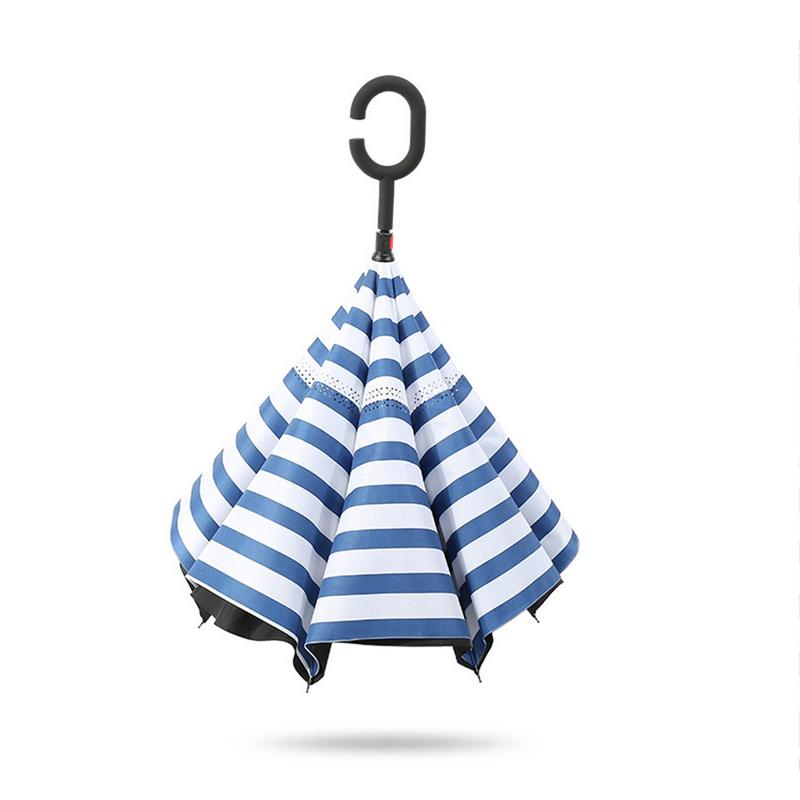 Hommes parapluie inversé parapluie inversé pliant Double inversé résistant aux intempéries petit parapluie frais pour voiture hommes femmes Z554