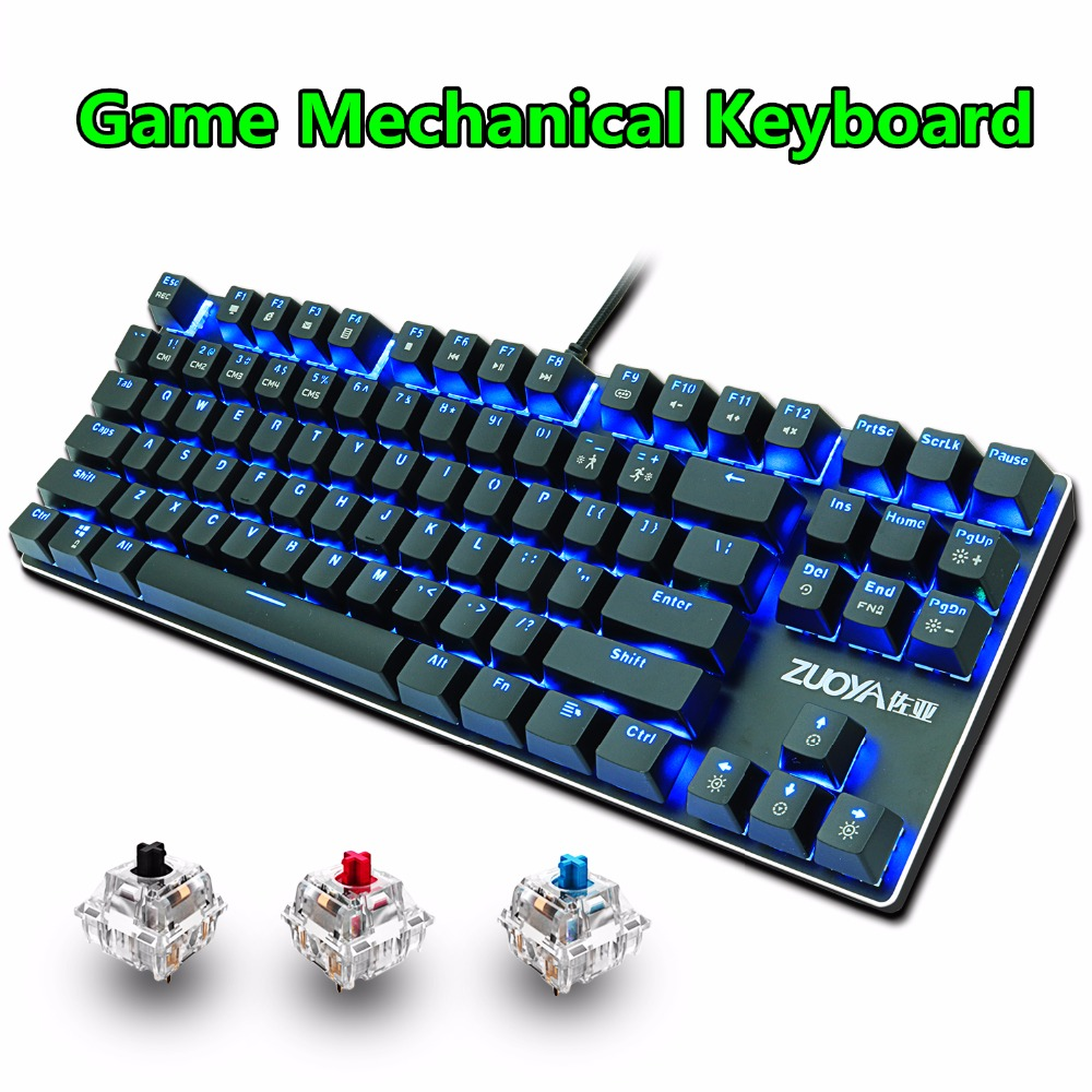 Gaming Mechanical Keyboard 87key Anti-fantasma azul rojo interruptor retroiluminado LED con cable teclado para juegos para PC portátil