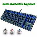 Juegos de teclado mecánico 87key Anti-fantasma azul interruptor rojo LED retroiluminada con cable de teclado para PC portátil