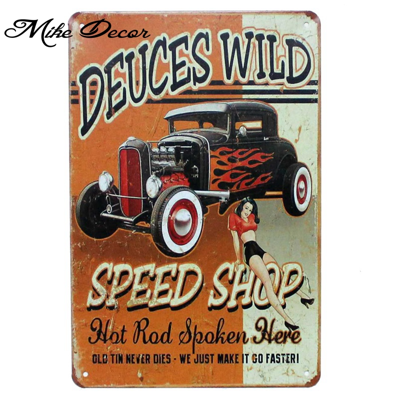 [ Mike86 ] SPEED SHOP DEUCES WILD Metal Sign Wall Plaque Iron Painting Retro Gift Home Decor 20X30 CM AA-909 ...