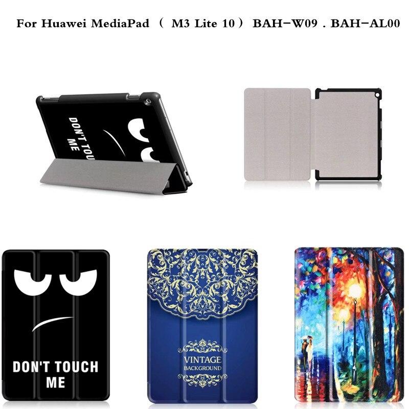 Роскошный Фолиант Искусственная кожа Обложка Тонкий Подставки Напряжение чехол для Huawei MediaPad M3 Lite 10 10.1 bah-w09 bah-al00 Планшеты PC