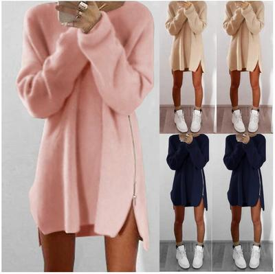 5aa7d2b546d Autumn Winter Knitted Sweater Dress Loose Long Sleeve Zipper Casual Mini  Vestidos Cheap Good Quality Plus size women clothing