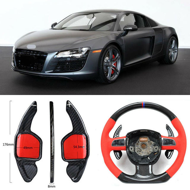 $ 100.57 Carbon Fiber Gear DSG Steering Wheel Paddle Shifter Cover Fit For Audi R8 2012