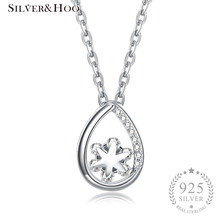 SILVERHOO Genuine 925 Sterling Silver Water-drop Pendant Necklaces with Clear Zircon for Women Girls Gift Rotating Fine Jewelry