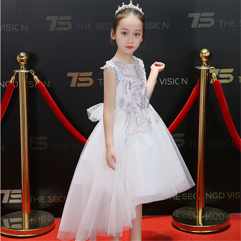 Kids S Summer New Flowers Princess Birthday Wedding Party Prom Dress Children Graduation Ceremony Baby Tail Formal Wear