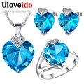 Uloveido corazón romántico nupcial sistemas de la joyería de plata chapado en azul set de joyas collares y colgantes anillos pendientes de bodas t213