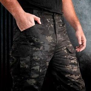 Image 4 - Multi saco estiramento camuflagem tático calças dos homens xadrez à prova dwaterproof água desgastar oposição respirável carga calças ao ar livre militar pant