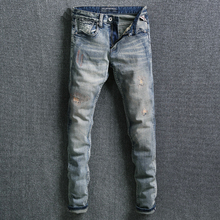 Italy Style Fashion Men Jeans Retro Wash Slim Fit Classical Ripped Elastic Denim Pants homme Streetwear Hip Hop