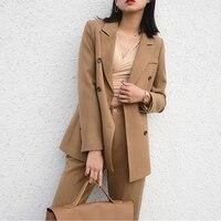 Pant Suits Female feminino Office Lady Business Suitspants Work Wear Sets Uniform Styles Elegant Brown Pant Suits Women 2018