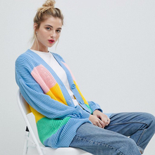 2019 Autumn Winter Women Sweaters Casual Striped Patchwork Knitted Long Cardigans Single Breasted Loose Rainbow