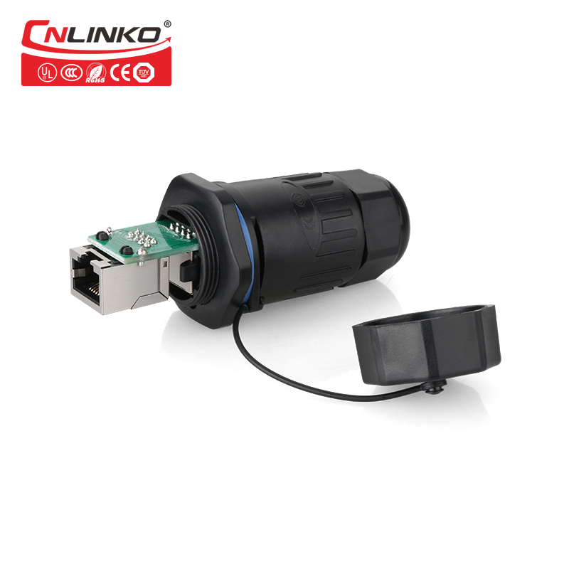 все цены на Cnlinko 1set RJ45 Waterproof Coupler Socket Connector IP65 Ethernet panel mount RJ45 Connector Cat5e With Black cap онлайн