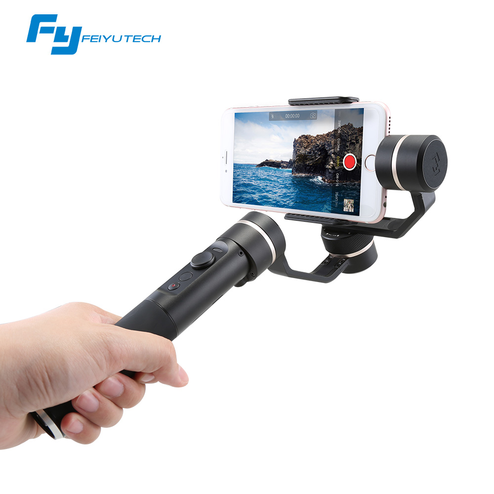 Clear inventoy Feiyu FY SPG 3 axis handheld gimbal stabilizer for iPhone smartphone gopro other action camera brushless gimbal fpv 3 axis cnc metal brushless gimbal with controller for dji phantom camera drone for gopro 3 4 action sport camera only 180g