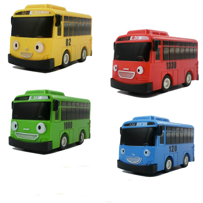 все цены на New 4pcs/set Tayo the Little Bus Mini Plastic Pull Back Blue Tayo Red Gani Yellow Lani Green Rogi Bus Car Model for Baby Gift онлайн
