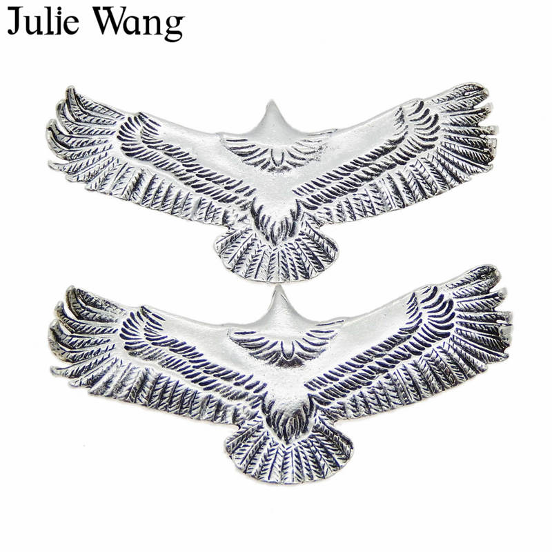 5 pcs Silver Stainless Steel Eagle Charms Necklaces Pendants Jewelry Making DIY