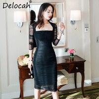 Delocah Осень женское платье модный дизайнерский костюм три четверти рукав великолепные драпированные черный печатных Русалка Тонкий платья